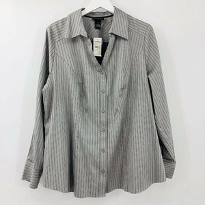 Lane Bryant Button Front V Neck Blouse
